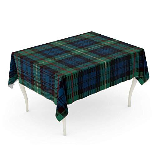 LIS HOME Rectángulo Mantel Escocés Tartán Azul