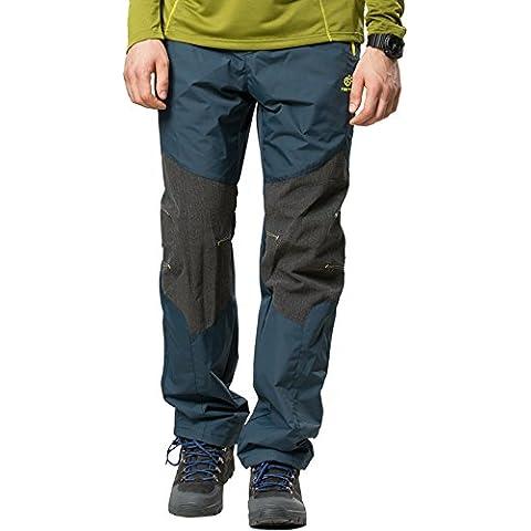 Tofern Uomo Outdoor Idrorepellente Antivento Autunno Inverno Primavera Allungare Softshell Pantaloni Ciclismo Trekking Campeggio Sci Pantaloni, grigio e blu, M