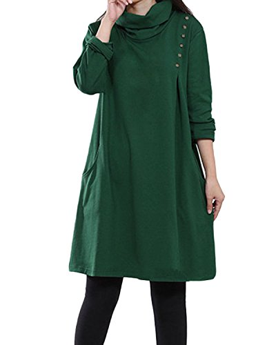 StyleDome Femme Robe Pull Longue Vintage Col Bénitier Manches Longues Casual Lâce Large Robe Maxi Vert
