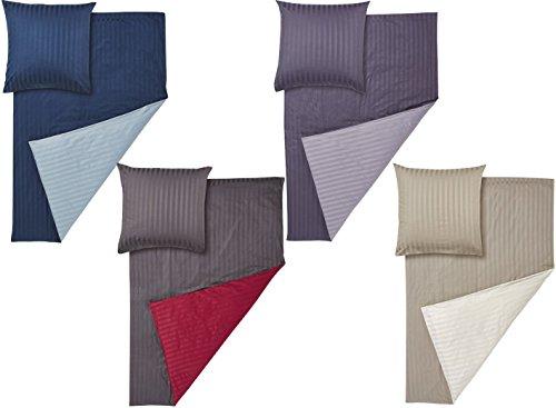 Meradiso® Luxus-Satin-Wendebettwäsche (100% Baumwolle) mit Damast Streifen