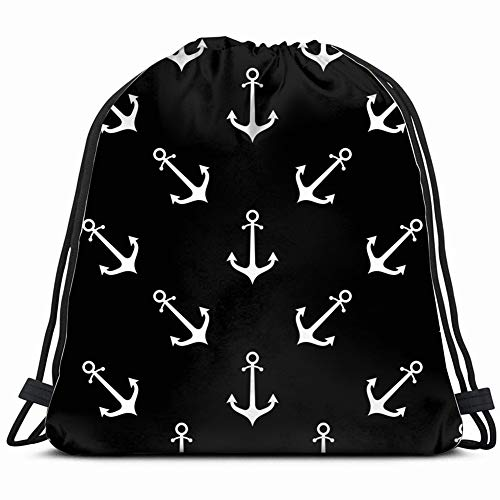 DD Decorative Anchor icon Flat Objects Signs Symbols Drawstring Backpack Gym Sack Lightweight Bag Water Resistant Gym Backpack for Women&Men for Sports,Travelling,Hiking,Camping,Shopping Yoga (Ipad Flat Iron)