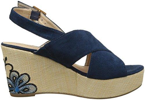 The Divine Factory Alya, Sandales Plateforme Femme Bleu (Bleu)