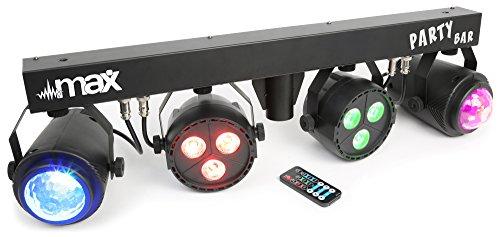 Lösung Nebelmaschine (max LED-Partybar + Stativ (2x PAR-RGBW-LEDs + RGBW-Jellball, Automatikmodus, musiksensitive Steuerung, T-Balken, inkl. Höhenverstellbares Stativ, IR-Fernbedienung))
