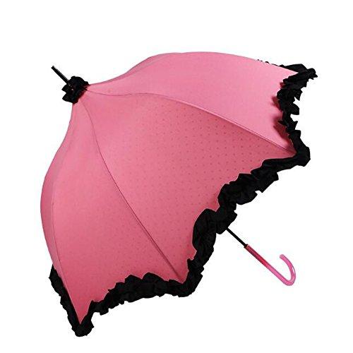 bpblgf Sombrillas Rectos AutomáTicas Abiertas del Paraguas del Palillo Impermeable para La Boda del CordóN De La Capa Doble, 01
