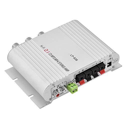 Tihebeyan 2 Kanal 12 v 15 watt Bass Verstärker Stereo Verstärker Kleine Verstärker Car Home Audio Leistungsverstärker Digital Amp(Weiß) Cinch-outdoor-antenne