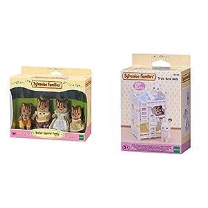 SYLVANIAN FAMILIES Walnut Squirrel Family Mini Muñecas y Accesorios, (Epoch para Imaginar 4172) + Triple literas (Epoch para Imaginar 4448)