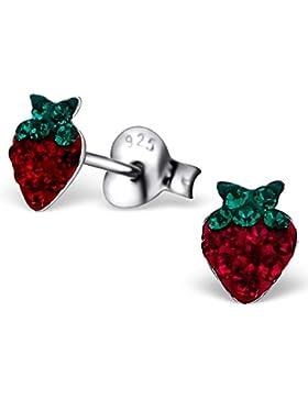 JAYARE Kinder-Ohrstecker Erdbeeren 925 Sterling Silber rhodiniert Glitzer-Kristalle 6 x 5 mm rot grün Ohrringe