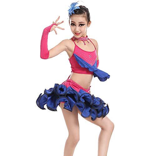KINLOU Tutu Mädchen Latin Dance Kleid Rock Rüschen Ärmellos 2 Stück Top/Rock - Lyrical Modern Contemporary Gymnastics Tanz Performance Wettbewerb Gesellschaftstanz Kostüme, Blau/150 (Zwei Stück Tanz Wettbewerbs Kostüm)