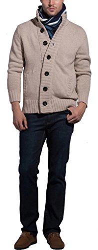 Sawadikaa Hommes Bouton Cardigan Chandail Sweater Sweatshirt Slim Fit Veste en Maille Pulls et Gilets Beige