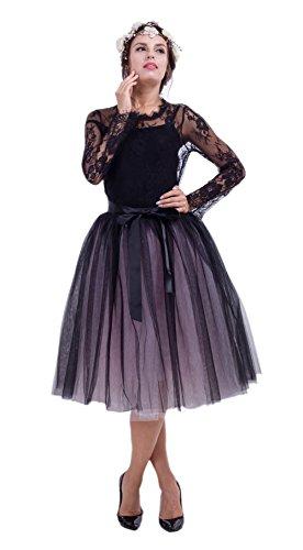 Honeystore Damen's Rock Knielang Petticoat Unterrock Tutu Tüll 7 Schichten Elegant Sommer Elastic Bund in Mehreren Farben Schwarz und Rosa One Size