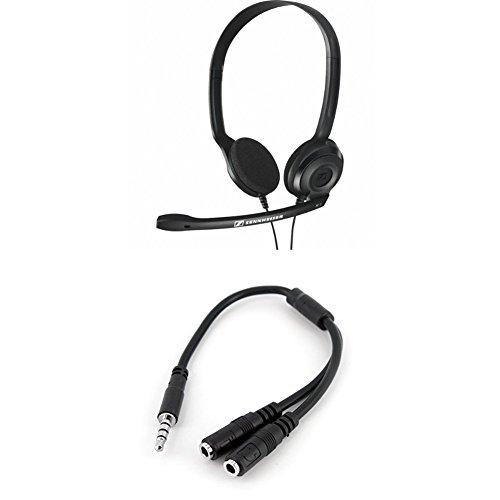 Sennheiser PC 3 CHAT - Micro-auriculares supraurales de tipo diadema estéreo +  Adaptador Divisor para Auriculares y Micrófono de 3,5mm de 4 Pines a 2x de 3,5mm de 3 Pines , Níquel