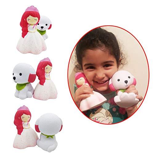 (Toys n Joys von Ossman Slow Rising Jumbo Puppy and Princess Squashy Squeeze Spielzeug für Mädchen mit duftendem Squishies Squeeze Spielzeug zum Stressabbau. Verpackt in bunten 'I Love Squishy' Tasche)