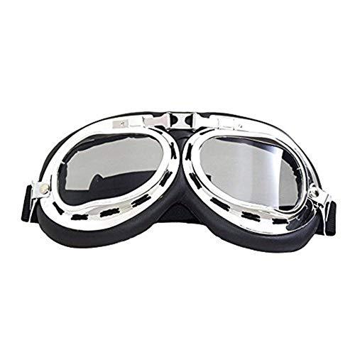 Motorradschutzbrille Motorrad Vintage Brille Pilotenbrille Pilotenbrillen Motorrad Fahrrad Roller Sonnenbrillen UV-Schutz Eyewear Winddicht Staubdicht Helm Brille Einstellbar Für Motorradfahrer