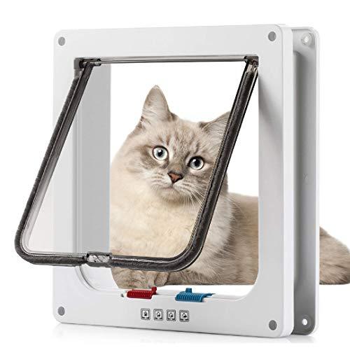 Sailnovo Katzenklappe XL Hundeklappe 4 Wege Magnet-Verschluss für Katzen, Klein Hunde, 28,5 * 24,5 * 5,5cm Hundetür Katzentür XL Haustierklappe, Installieren Leicht mit Teleskoprahmen