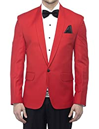Favoroski Men's Polyester and Viscose Blazers - Red