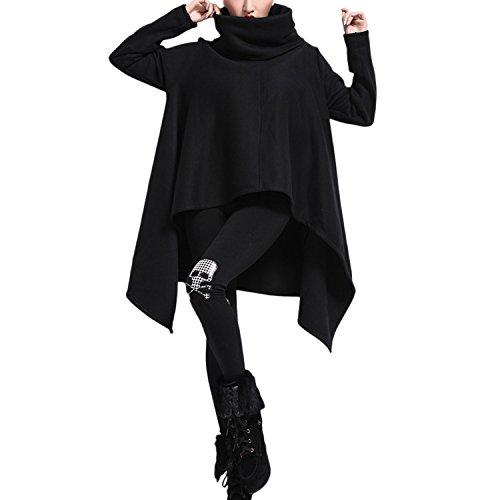 QQI Femmes Lâche Sweat Épais Chaud Haut Du Cou Sweat Tops Irrégulière Hem Baggy Pullover Jumper Noir