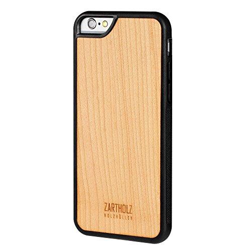 ZARTHOLZ passend für iPhone 6 6s Holzhülle Holz Case Cover Backcover Schale Bumper Tasche Gravur Rückseite Kirschbaumholz Schwarz Beige Dünn Design