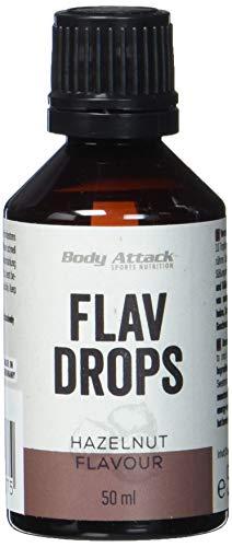 Body Attack Flav-Drops, Aroma für Lebensmittel, zuckerfrei, kalorienfrei, vegan Hazelnut (50ml)