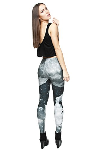 Long Femmes Filles Leggings Jegging imprimé Fitness Pantalon Skinny stretch Galaxy Pantalon de sport d'entraînement Bleu - Moon