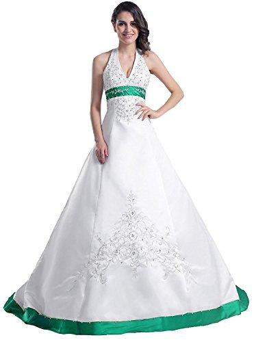 Edaier Frauen Perlen Halfter bestickt Satin Kleid Vintage Braut Brautkleid Größe 52 Beige Dunkel...