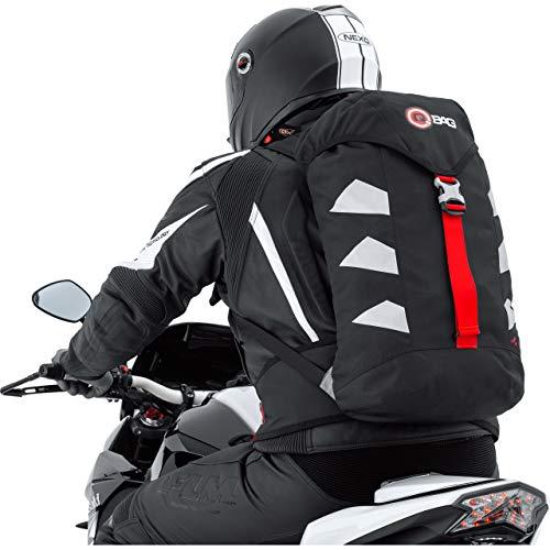 QBag Motorradrucksack wasserdicht, Biker Rucksack für Damen & Herren, 25 Liter Stauraum, sehr leicht, reflektierende Seitenstreifen, Ausgang für Trinksystem, gepolstertes Rückenteil, schwarz/Silber