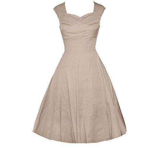 LOBTY Robes Vintage 1950's Audrey Hepburn robe de soirée cocktail, bal style années 50 Rockabilly Swing Beige