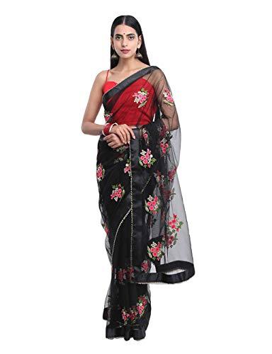 SilverStar Women\'s Mono Net Embroidery Flower Work Black Saree With Banglori Silk Red Color Plain Blouse Piece