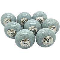 8 x, colore: grigio effetto craquelé, pomello in ceramica per la porta, armadietto, cassetto, stile Shabby Chic, con maniglie