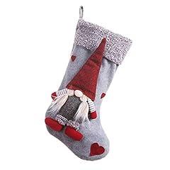 Idea Regalo - Blanche, calza natalizia, con figurina di gnomo 3D senza volto, decorazione per le Feste, per camino o albero A2