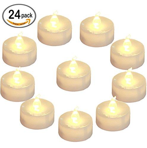 Homemory batteria lumini a LED Tealight candele senza fiamma, confezione da 24, con luce bianca calda luce tremolante, diametro 3,6cm elettrico finta candela per candele votive, matrimoni, feste, da tavolo, Diningroom, Gift
