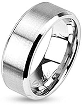 Paula & Fritz® Ring aus Edelstahl Chirurgenstahl 316L silber 6mm breit gebürstetes Band und abgerundete Kanten...