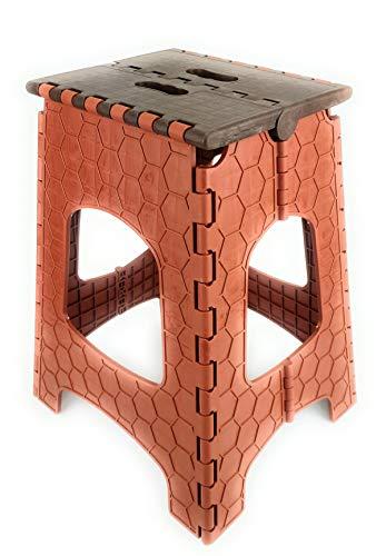 GP Klapphocker Hocker Faltbar Tritthocker Klapptritt Kinderhocker (braun - Höhe: 45cm)/ aus robustem Kunststoff/belastbar bis 130 Kg/ca. 32x36x45 cm/Sitzfläche: 23x27 cm/FALTBAR mit Tragegriff