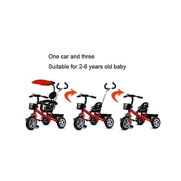 BGHKFF 4 In 1 Tricycle 12 Months To 5 Years Removable Shade Canopy 2-Point Safety Belt Versatile Kids' Trikes Folding Footrests Rear Wheel Tricycles Maximum Weight 40 Kg,Red-OneSize BGHKFF * The tricycle has the unique features of two foot pedals, one at the bottom of the child seat and the other at the front wheel. *Material: Steel frame, no need to inflate titanium tires, easy to carry, suitable for children from 12 months to 5 years old, maximum weight 40 kg *The awning can adjust the angle according to the direction of sunlight, and can be adjusted and disassembled. 4