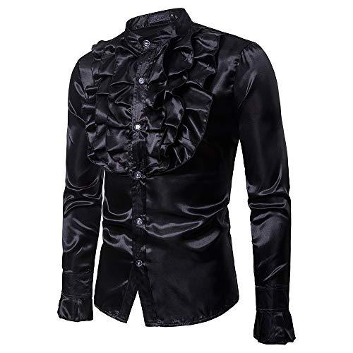JackRuler Herren Freizeithemden Mode-Design Kostüm Stehkragen Langarm-Shirt Evening Solid Blouse - Crew-long Sleeve Work Shirt
