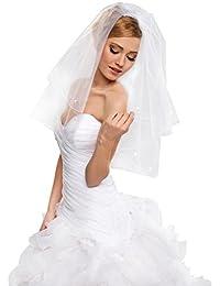 Voile de jeune mariée à double couche grand gala avec bordure longueur coude 76 cm avec des cristaux