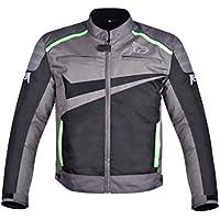 JET Chaqueta Moto Ciclomotor Hombre Textil Ventilación con Protecciones Ligero Basic ESSENTIALS (S, Gris/Verde)