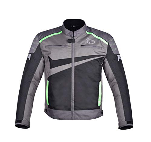 JET Chaqueta Moto Ciclomotor Hombre Textil Ventilación con Protecciones Ligero Basic ESSENTIALS (M, Gris/Verde)