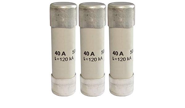 AERZETIX 3 x Keramiksicherung GG 5 cm 40 A 40000 mA 500 VAC 14 x 51 mm C42403
