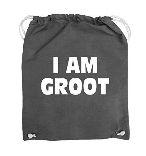 Borse Commedia - Sono Groot - Logo - Turnbeutel - 37x46cm - Colore: Nero / Argento Grigio Scuro / Bianco