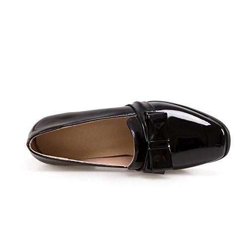 VogueZone009 Femme Verni Couleur Unie Tire Carré à Talon Correct Chaussures Légeres Noir
