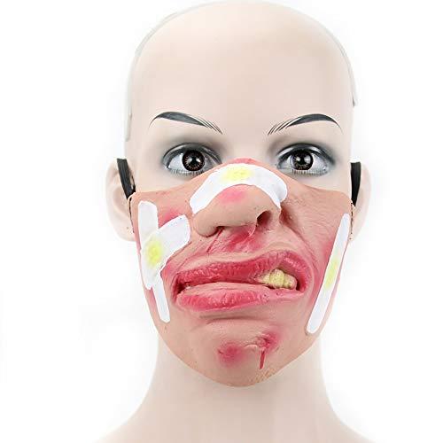 Halloween Maske Erwachsene Lustige Horror Maske Maskerade COS Latex Halbe Gesichtsmaske Leistung Requisiten,B