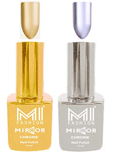 Mirror Chrome Nail Polish Combo by MI Fashion®| Silver Shine Nail Polish | Golden Bliss Nail Polish | Professional Brush | Set of 2, 12ml each