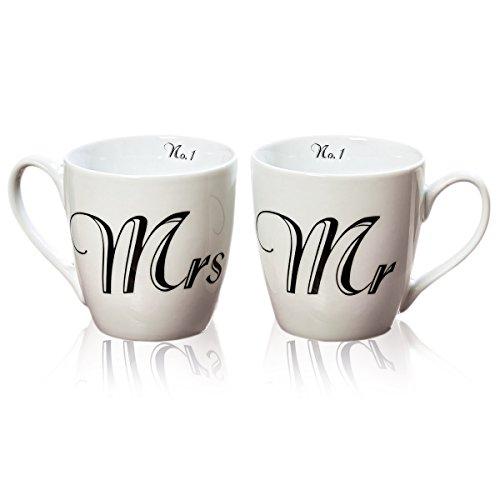 #2 Stk Kaffeetasse MR & MRS weiss schwarz JUMBO XL 400ml Tasse Kaffeebecher Hochzeit LOVE Wedding MUG Tasse Hochzeit Mr&Mrs Hochzeitsplaner Kaffeebecher Brautpaar Gastgeschenk Mitbringsel#
