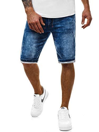 Ozonee mix pantaloncini di jeans pantaloni corti bermuda denim uomo taglio-dritto casual abbigliamento da discoteca slim-fit quotidiano moderno sportivo 777/036s - blu ozonee-777/931s, l