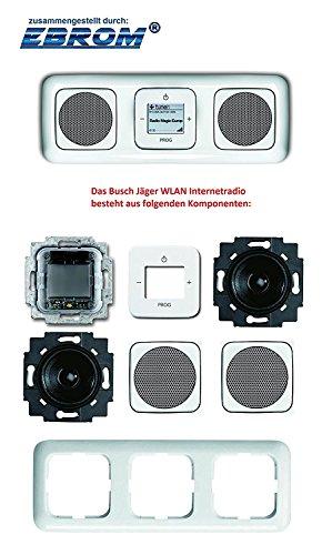 Busch Jäger Unterputz UP WLAN iNet Internetradio (8216U) alpinweiß Komplett-Set Reflex SI // Radioeinheit + 2 Lautsprecher + 2 Lautsprecher Abdeckungen + 3-fach Rahmen