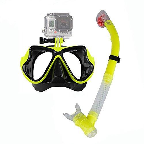 Taucherbrille mit Schnorchel, Accevo Premium Schnorchelsets mit Gopro Halterung für Erwachsene (Gelb)