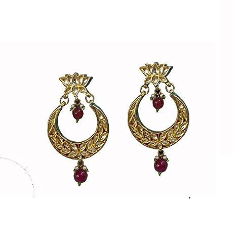 StyleDeco Designer Kundan Boucle d'oreilles Ethnic Designer Femmes (Ciondolano Clip)