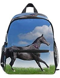 FANTAZIO Mochila Escolar Primario Hermoso Negro Caballo en Grass Bookbag