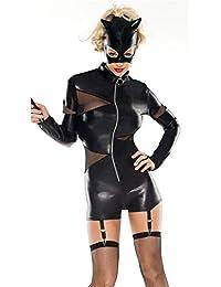 ZWGYQ Europa Y Los Estados Unidos Chaqueta De Cuero Negro con Capucha Juguetona Cremallera Femenina Vestido Corto Discoteca Sexy Encaje Uniforme Tentación