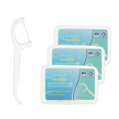 Zahnseide Sticks - 150 Stück Einwegzahnseide Dental Floss Zahnpflege Zahnseide Zahnstocher Zahnreinigung zur Entfernung von Plaque und Speiseresten (3 Packungen)
